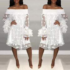 Women Sexy Off Shoulder Frill Mini Dress Ladies Polka Dot Holiday Party Dresses