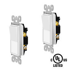In Wall Decorator ON/OFF Paddle Rocker Light Switch Single Pole White 2 Pack