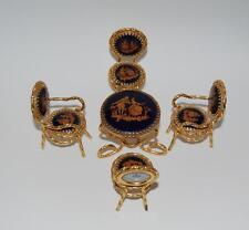 Limoges Miniature Cobalt & Gold French Porcelain Table & 4 Chairs -Fragonard