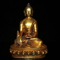"8.1"" Collect China Bronze Gilding Buddhism Sakyamuni Medicine Buddha Statue"