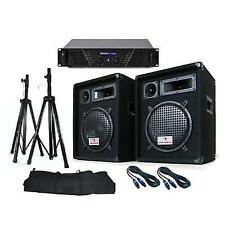 "Soundsaver PA System 10"" Inch DJ Equipment Diso Speakers Amplifier Stands 640w"