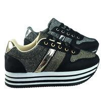 b6b569f489b0 Sponge02 Comfortable Mesh Glitter Flatform Sneaker w Stripped Curved  Platform