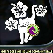 Hibiscus Cat Vinyl Decal Sticker Feline Kitty Love Cats Window Bumper Car Sign