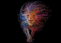 Lion Abstract Trippy Art Large Poster Print - A0 A1 A2 A3 A4 Sizes
