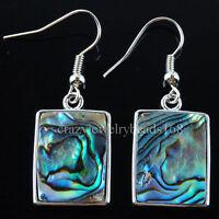 New Zealand Abalone Shell Oblong Beads Dangle Earrings Pair R027