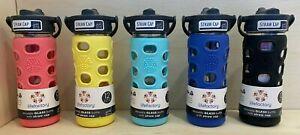 Lifefactory BPA Free 12 oz Glass Water Bottle Silicone Grip w/ Straw Sports Yoga