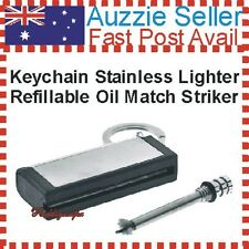Keychain Match Striker Refillable Lighter Stainless Case