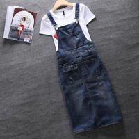Fashion Women's Casual Denim Suspender Pockets Overalls Knee Length Jeans Dress