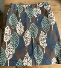 BODEN  LEAF DESIGN LINED SKIRT SZ 10 BROWN CREAM TEAL BLUE AUTUMN BARGAIN £6.99