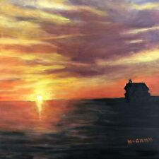 "Original Oil On Canvas By Artist, Sunset On Lake MI At Grand Haven 12""x12""-$225"