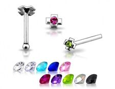Cz Nose Stud Pin Ring N011 1 22g Silver Cross Clear Gem