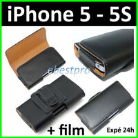 Accessoire Housse Coque Etui Pochette PU Cuir Clip Ceinture iPhone 5 5S 6 6S 7