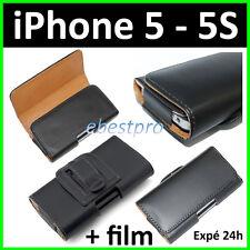 Accessoire Housse Coque Etui Pochette PU Cuir Clip Ceinture iPhone 5 5S +Film