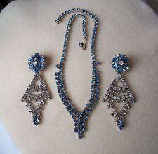 Vintage Blue & Clear Rhinestone Necklace & Dangle Earrings