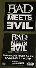 EMINEM BAD MEETS EVIL Logo Pic Black & White 10 stickers  PROMO STICKERS 2011