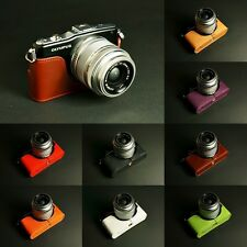 Handmade Real Half Leather Case Camera Case bag for Olympus E-PM1 8 colors