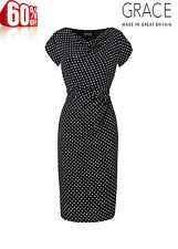 Ladies GRACE EVANS women BLACK white POLKA DOT SPOTTED Party Evening DRESS 16
