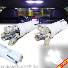 2x BOMBILLAS 3 LED T5 BLANCAS 2W W5W 12V 14.5V COCHE GUANTERA CAR LIGHT BULB