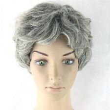 Grandmother Short Curls Wig Grey Silver Granny Old Lady Halloween Costume