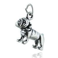 Bulldog Charm - 925 Sterling Silver Pet Love Dog Mascot English Gift Pendant NEW