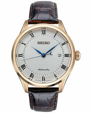 *BRAND NEW* Seiko Men's Brown Leather Strap Rose Gold Steel Case Watch SRP772