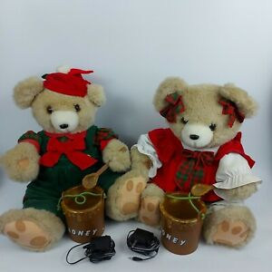 """Santa's Best Holiday Time Animated Bears 16"""" Tall with Honey Jar and Spoon"""
