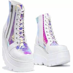 Women Super High Wedge Heel Platform Shoes Round Toe Ankle Boots Punk Outdoor D