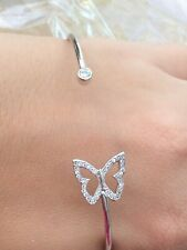 Rhodium Plated Open Outline Butterfly Pave Set Chbic Zirconia Cz Cuff Bangle