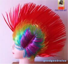 Free Hair Net Adult Rainbow Mohican Mohawk Wig 80' Punk Rock Lesbian Gay Pride