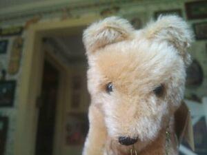 1980s blond mohair Teddy Hermann Original Teddy bear on wheels 6in EUC