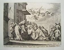 El papa vaticano St. Benedict benedicto jesús küsell después J. Baur grabado 1682