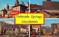 Colorado Springs Multiview~Old & New Antlers Hotels~Bus Station~1950s Cars