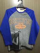 BNWT Boys Sz 14 Target Brand Blue/Grey Brooklyn Logo Long Sleeve Tee Shirt Top