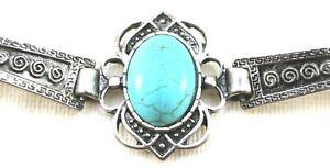 BRANDY MELVILLE Embossed Boho BRACELET Turquoise Stone BANGLE Silver Tone