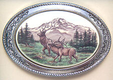 Belt Buckle Barlow Photo Reproduction in Color Elk Pair Western Silver 592608c
