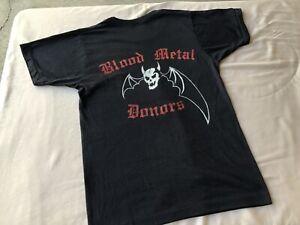 RARE Vintage OVERKILL BLOOD METAL DONORS Hard Rock Metal Punk Concert SHIRT og
