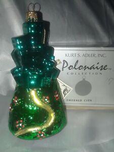 RARE Kurt Adler POLONAISE KOMOZJA Wizard of Oz EMERALD CITY AP623 Glass Ornament