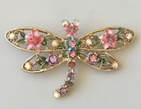 Adorable vintage style Dragonfly  flower brooch enamel on metal.