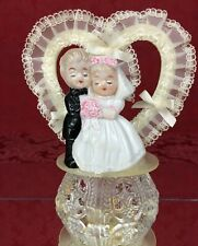 Vintage MCM Wedding Cake Topper Porcelain Boy & Girl Bride & Groom Plastic Lace