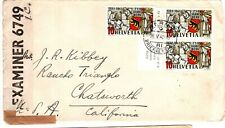 1942 Switzerland Censored Cover to California with 3 Stamps