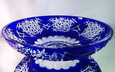ART DECO AJKA CRYSTAL HUNGARY COBALT BLUE FRUIT BOWL CENTERPIECE, lead crystal