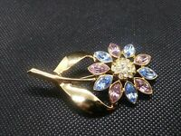 Vintage Gold Tone Blue And Pink Rhinestone Crystal Floral Flower Brooch