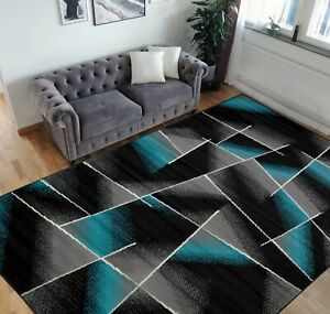 Square Pattern Area Rug 5x7 Box Pattern Modern Turquoise & Gray Carpet Comfy...