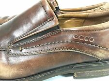 Ecco Windsor Brown Distressed Leather Moc Apron Toe Loafers Mens 11 - 11.5 / 45