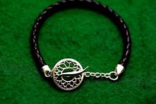 Black braided leather bracelet sterling silver filigree wave theme fastening