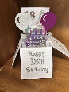 Beautiful Handmade 18th/Any Age Pop Up Greetings Card