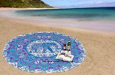 Hippie éléphant mandala ronde mur de tapisserie suspendue plage indien jet
