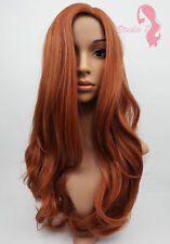 W34 Auburn Ginger Mix Long Wavy Wig Synthetic Natural LOOK Skin Top