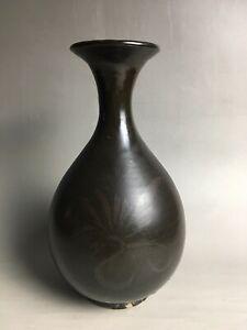 Free shipping Rare Chinese CiZHou kiln porcelain black glaze flowers vase