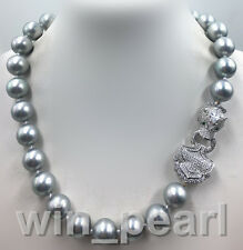 """Genuine Natural 14mm gray South Sea Shell Pearl Necklace 18""""AAA++"""